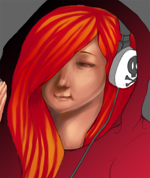 Girl with headset – Only the face