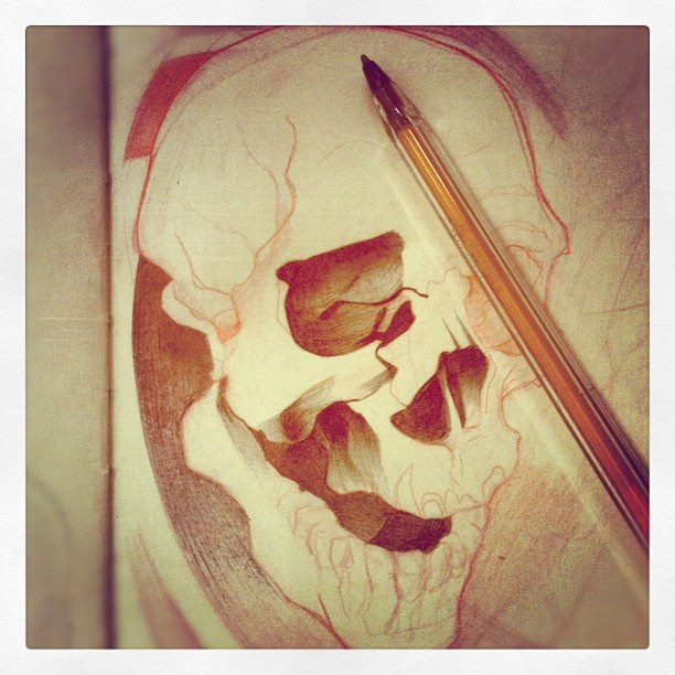 Sketchbook – Skull Progress – 1
