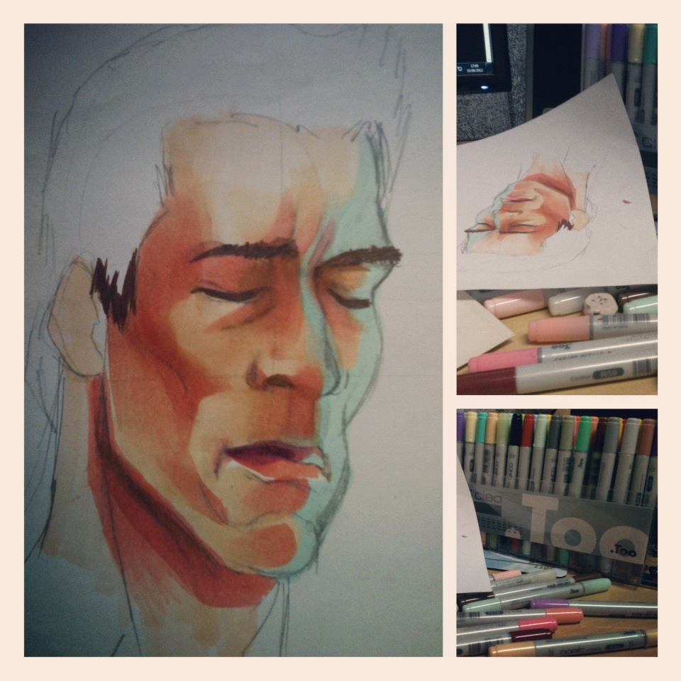 Copic Schwarzenegger – Progress