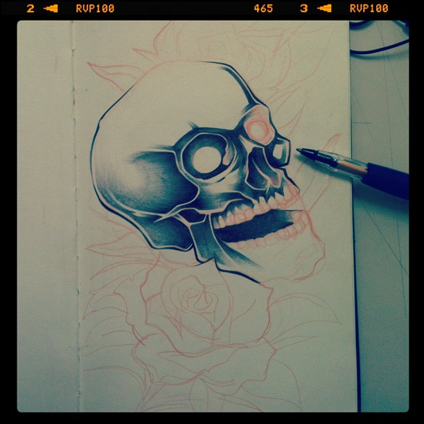 Roses and skulls – Progress