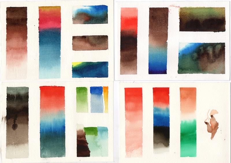 15/03/13 – Estudo com aquarela – Fusão de cores e degradê