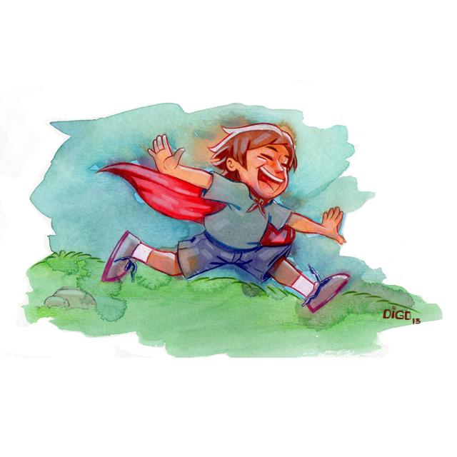 Criança sendo herói. =)